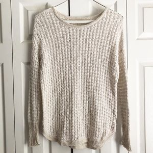American Eagle Cream & White Crochet Knit Sweater